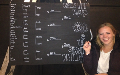 Sipsmith's Tilda with the ping pong tournament winner's board