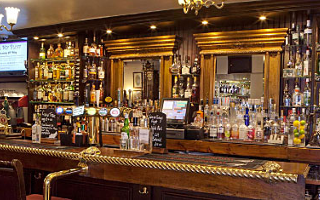 The bar at the Old Bell Inn