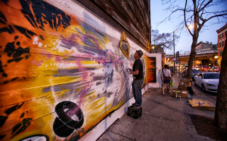 Keeping the door at Chicago's Violet Hour hidden with murals