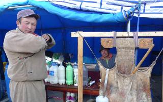 A camel-skin bag for a camel-milk cocktail