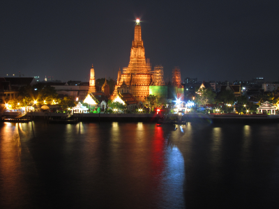 Wat Arun shining brightly after the sun goes down