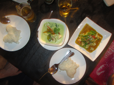 Red curry, green curry and cute little butterfly rice sides