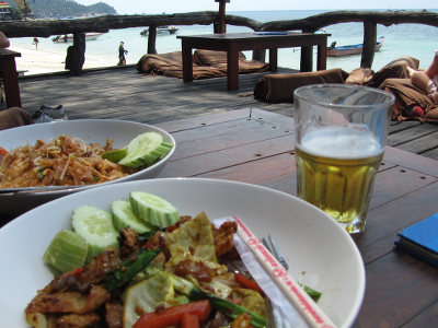 Pad Thai and stir fry chicken by the beach at Ko Tao