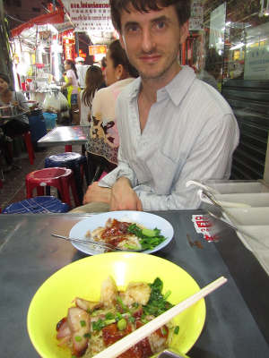 Incredible duck and rice noodles on the street in Bangkok's Chinatown to John's delight. Had to order 2 it was so good.