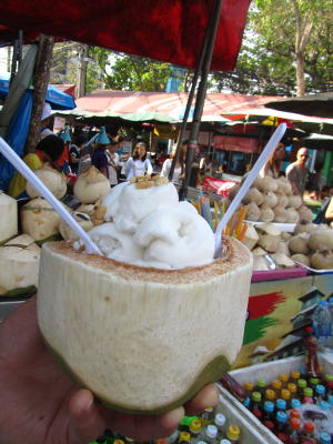 Coconut ice cream served in, what else, a coconut at Bangkok's Chatuchak Weekend Market