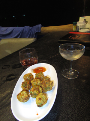 "Delicious ""No names"" - basically fried balls of dough with veggies and prawns - accompanied by the closest thing we could find to a Negroni - a glass of Campari (left)"
