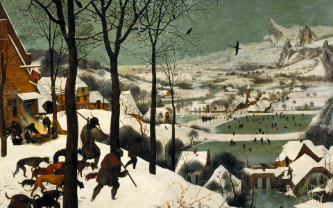 Pieter Bruegel the Elder depicts the Little Ice Age in Holland, where gin originated with grape spirits.