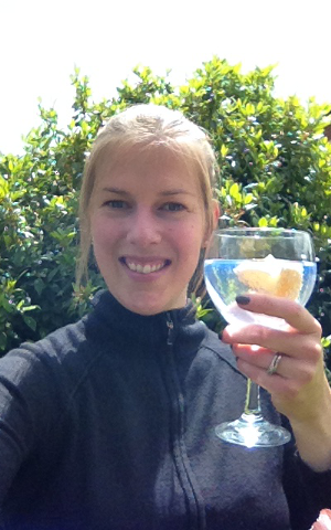 """Katie says Cheers! to the Craft Gin Club Community with her G&T balloon glassshe bought in Spain. Her opinion ofthe glass - """"It'shuge!"""""""