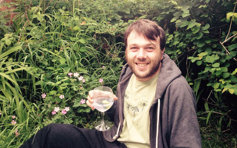 Paul enjoying a G&T with Ruth's juniper berry-estimation prowess