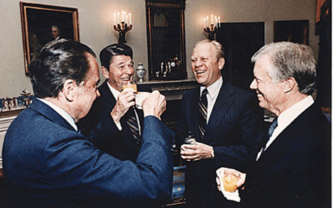 A three-martini reunion for four ex-Presidents