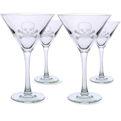 Sipping martinis with Long John Silver! The skulls are just a gimmick really, but for any dad desiring a complete cocktail bar, a martini glass set is a must!