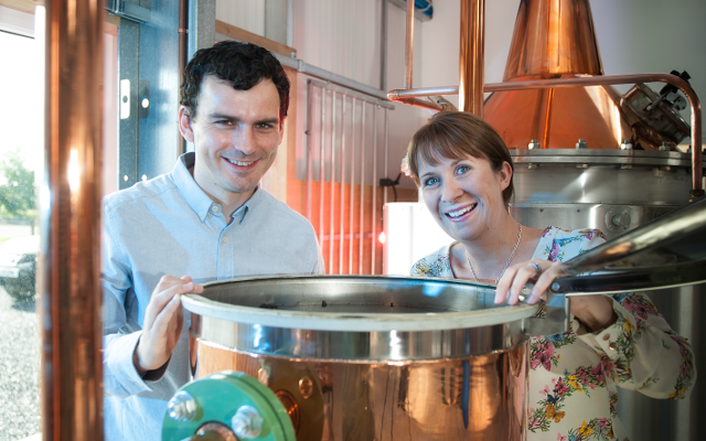 Claire and Martin Murray and their beautiful, Rock Rose Gin-distilling still, Elizabeth.