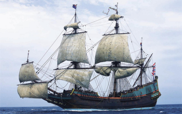A replica of the C17th Dutch ship The Batavia, similar in style to Hartog's Eendracht.