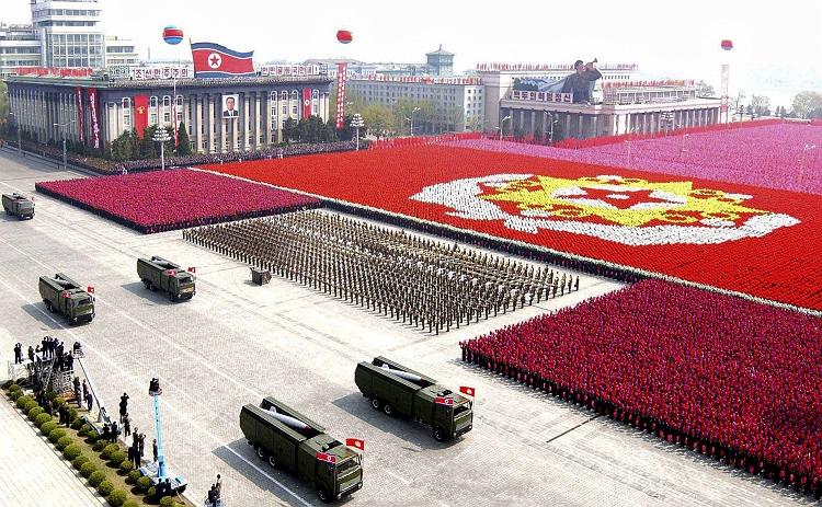 A North Korean military parade exuding some more national flavour...