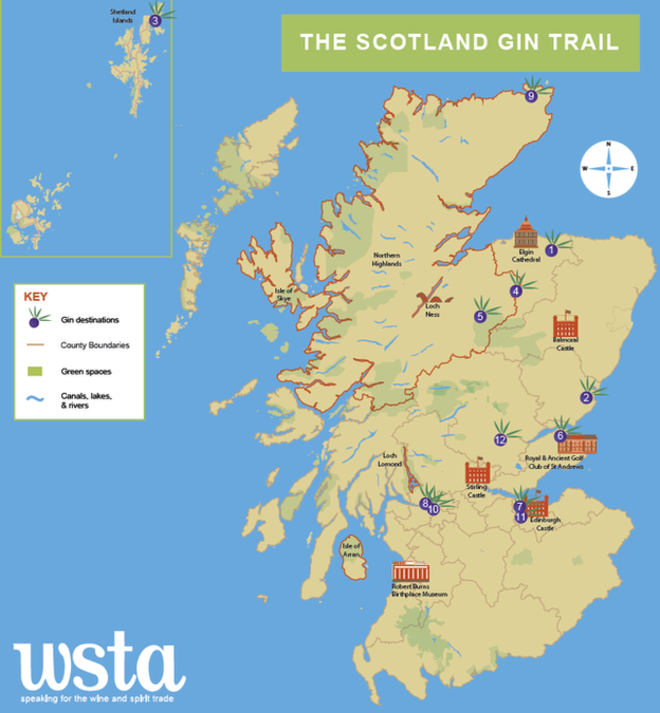 The new gin trail takes in 12 locations spread right across Scotland.