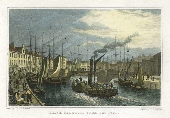 Leith Harbour from the Pier, a 1831 engraving by T. Higham