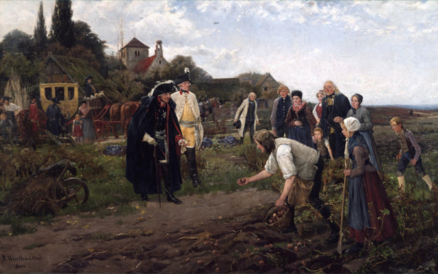 Robert Warthmüller's painting shows Frederick the Great inspecting potato crops.