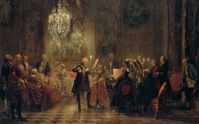 Frederick the Great gives a flute concert at his residence, Sansoucci, by Adolph Menzel.