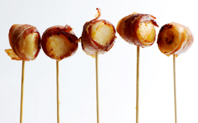 mini scallops on sticks wrapped in bacon