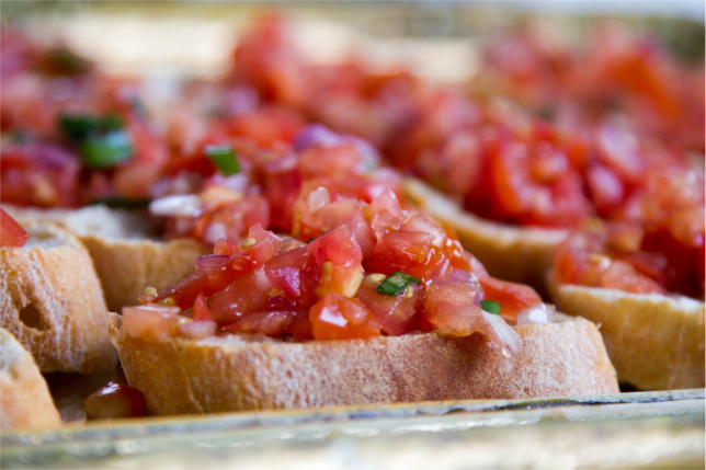 diamonds are bruschetta ciabatta tomato slices