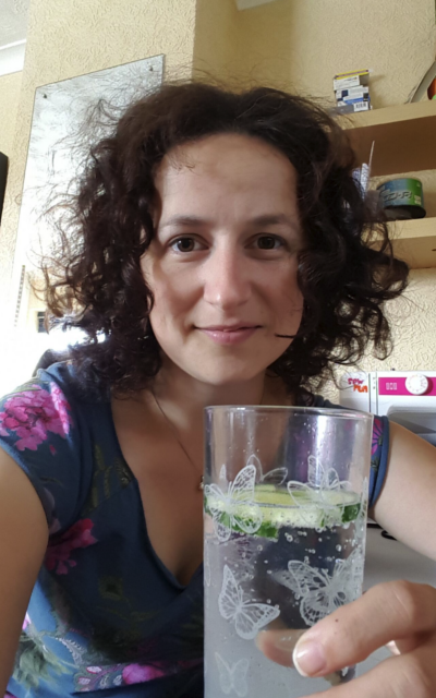 Zoe with an ice-cold G&T.
