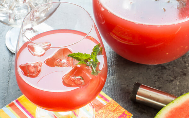 Watermelon gin punch cocktail