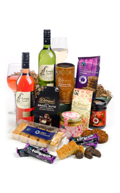 The fabulous Fairtrade hamper we will be sending to Chris.