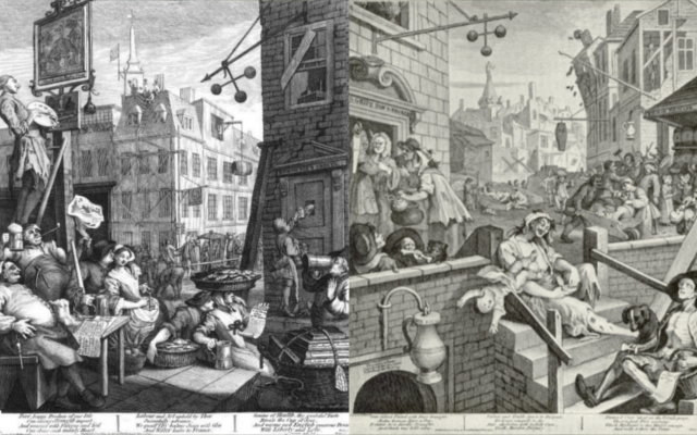 'Beer Street' and 'Gin Lane' by William Hogarth