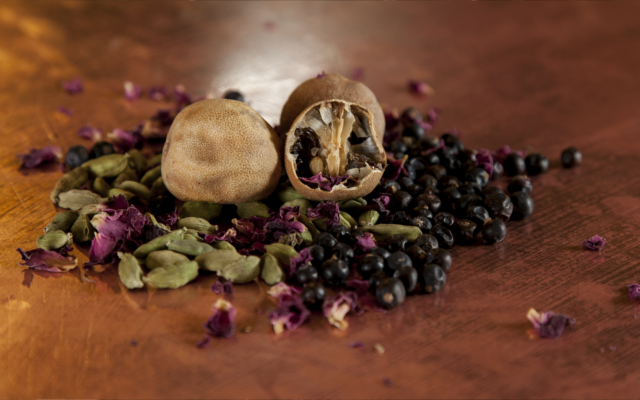 Some of the 'warming' botanicals featured in this month's gin