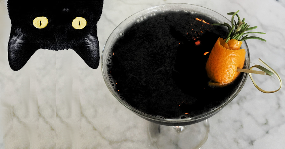 Haunted halloween gin cocktail black cat