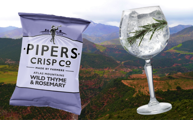 Pipers crisp company wild thyme and rosemary gin and tonic
