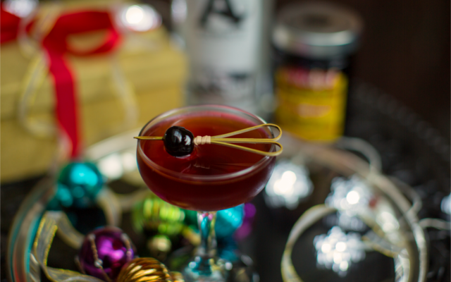 Gin Martinez Cocktail with cherry