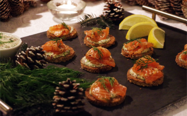 Arbikie Cured Salmon canapes