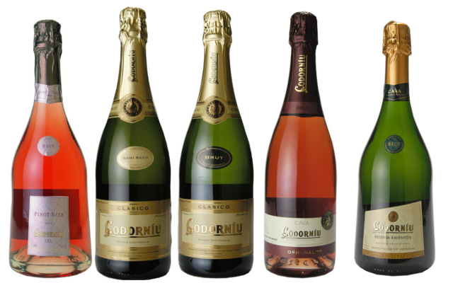 Cava bottles Codorniu Spain