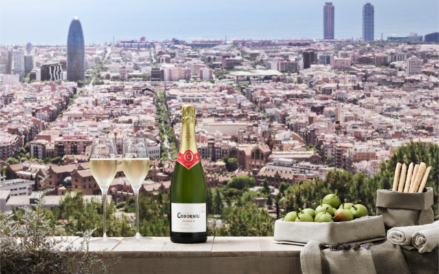 Cordoniu Spanish Cava in front of Barcelona city scape