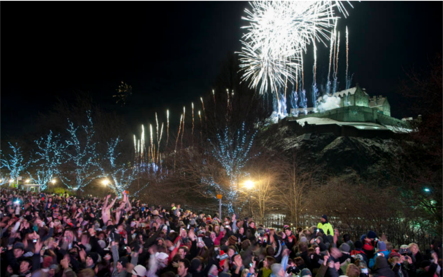 Edinburgh Castle Hogmanay New Year's Eve firework display celebrations