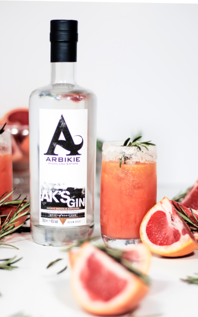 Arbikie Gin AK's Greyhound cocktail with pink grapefruit