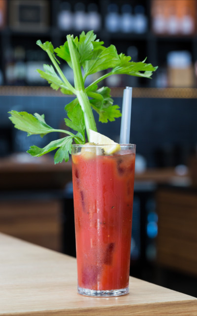 Red Snapper gin bloody mary cocktail with tomato juice and celery