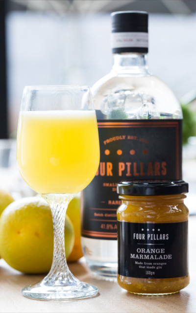 Breakfast martini with orange marmalade four pillars gin cocktail