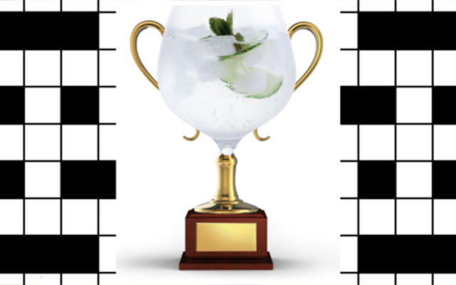 Crossword winner gin and tonic in copa glass trophy