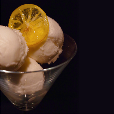Glendalough wild botanical gin and elderflower sorbet with candied lemon