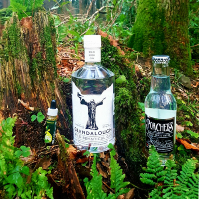 Glendalough Gin bottle and tonic and drops