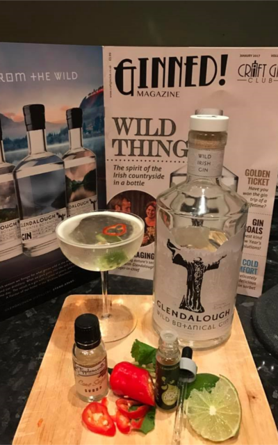 Glendalough gin cocktail with chili and lime
