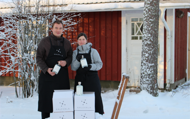 Kalevala gin founders in the snow in Finland