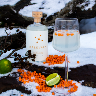 Kalevala gin bottle wth loganberries