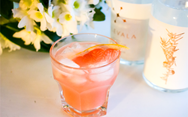 Pink paradise gin cocktail with kalevala gin and pink grapefruit