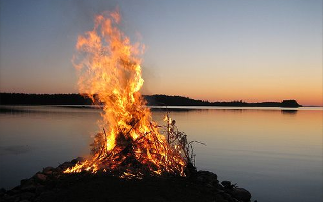 Midsummer on Seurasaari Island Fire Finland
