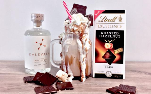 Chocolate Gin Freakshake with lindt roasted hazelnut and cream