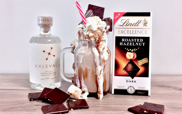 Kalevala gin chocolate crazy freakshake with cream and lindt roasted hazelnut chocolate