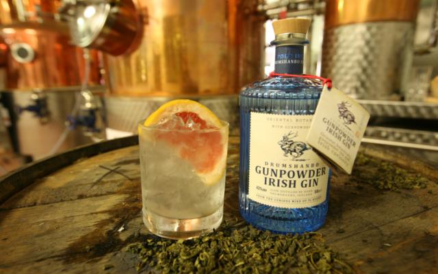 gunpowder drumshando irish gin bottle and gin and tonic with grapefruit wedge